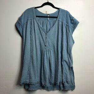 Free people blue linen distressed hem split side